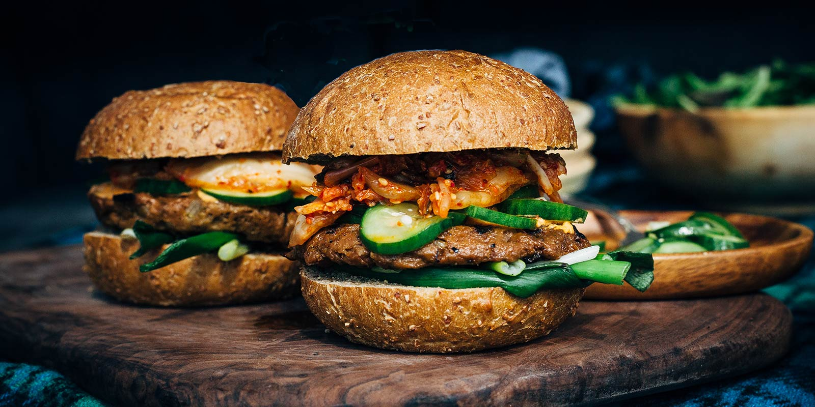 Tangy Cucumber & Kimchi Burger